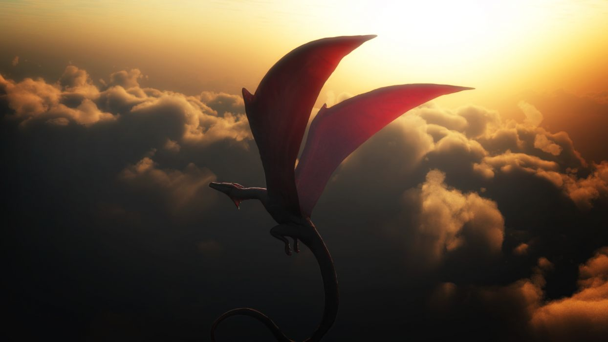 Dragons Sky Clouds Flight Wings Dragon Wallpaper 1920x1080