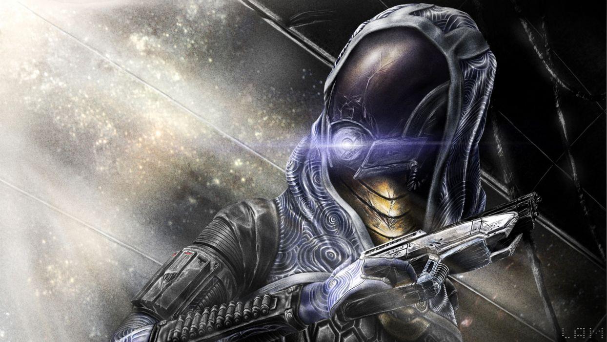 Mass Effect Pistol Warrior Tali Zorah Armor Helmet Games sci-fi armor cyborg wallpaper