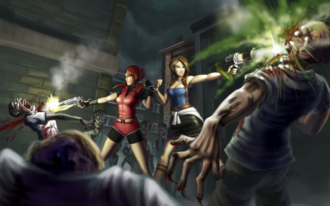 Resident Evil 6 Claire Redfield Jill Valentine blood zombie dark wallpaper