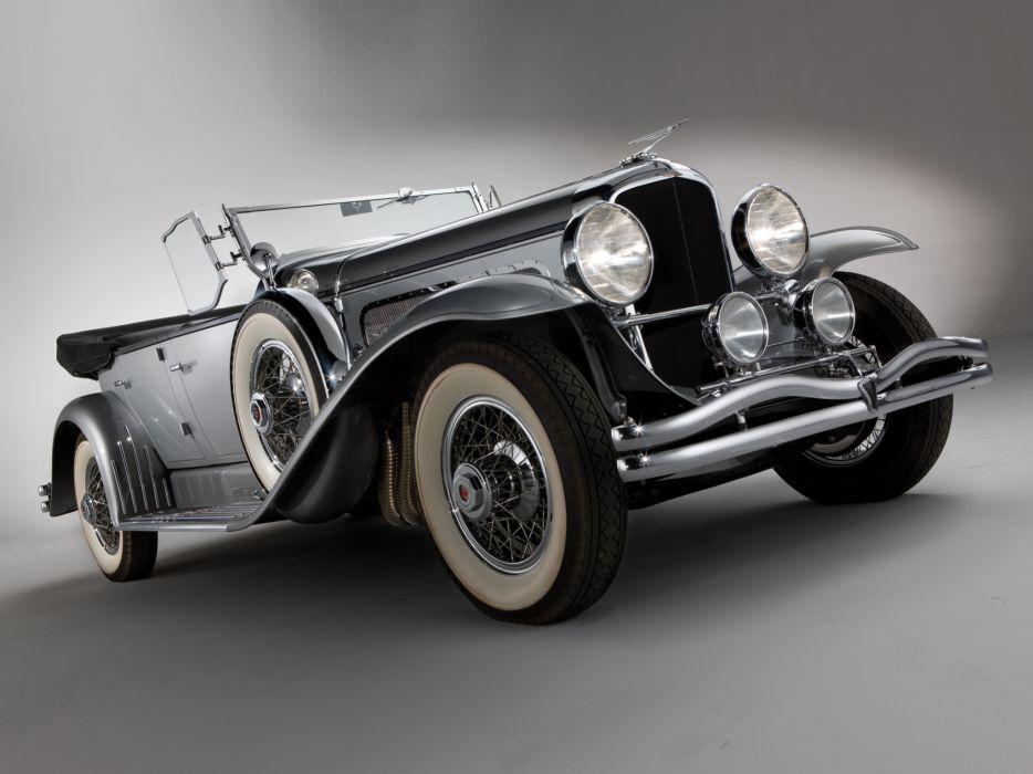 1929 Duesenberg Model-J 116-2136 Dual Cowl Phaeton SWB Derham retro luxury wallpaper