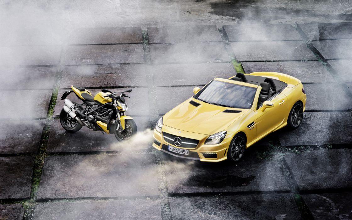 2012 Mercedes Benz SLK 55 AMG Ducati Streetfighter 848 superbike supercar motorbike     he wallpaper