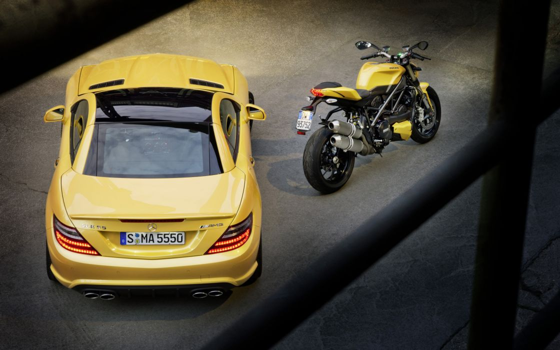 2012 Mercedes Benz SLK 55 AMG Ducati Streetfighter 848 superbike supercar motorbike    hd wallpaper
