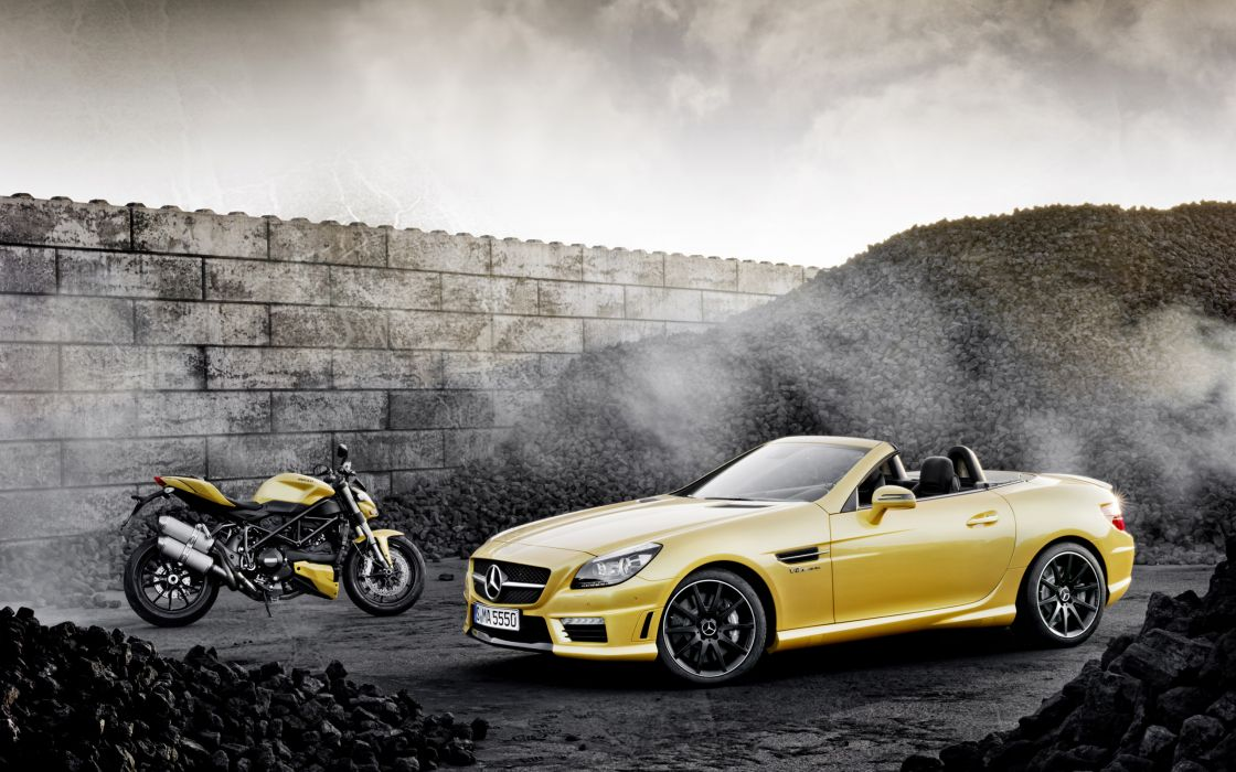 2012 Mercedes Benz SLK 55 AMG Ducati Streetfighter 848 superbike supercar motorbike    h wallpaper