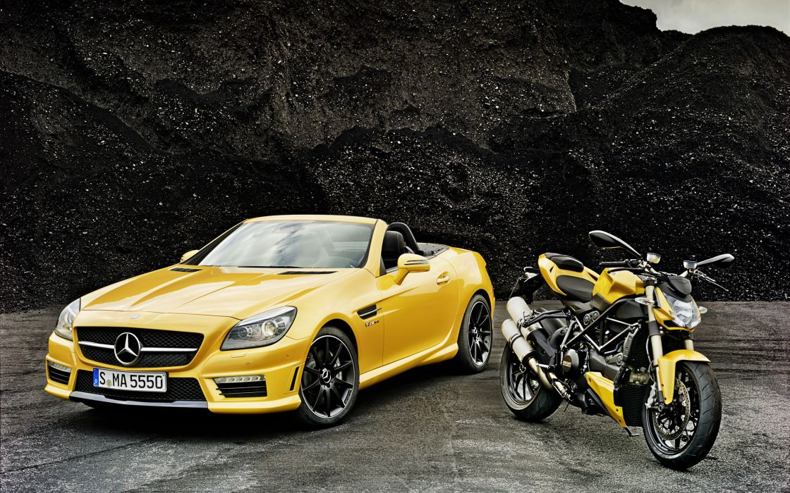 2012 Mercedes Benz SLK 55 AMG Ducati Streetfighter 848 superbike supercar motorbike   g wallpaper