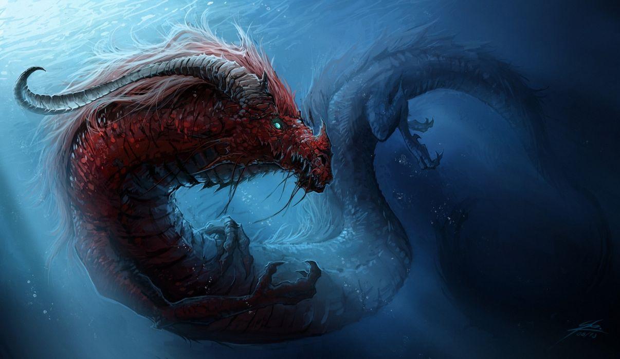 Dragons Underwater World Chinese Dragon Wallpaper