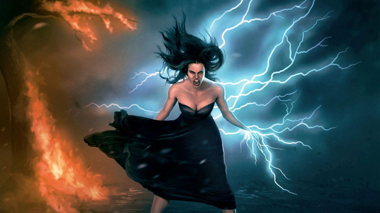 Magic Warrior Lightning Fantasy Girls Wallpaper