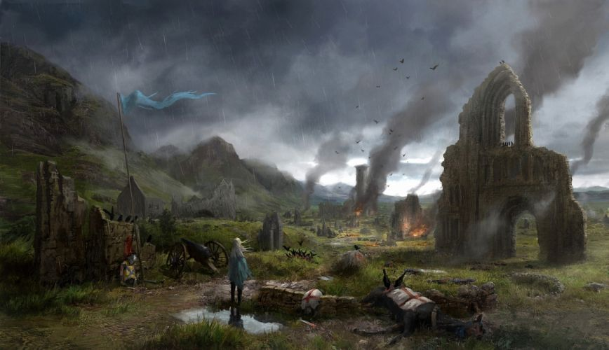 Middle Ages Ruins Village fire apocalyptic rain battle wallpaper