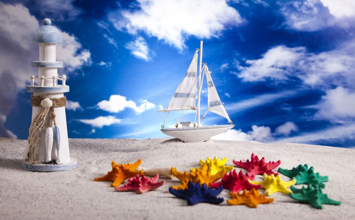 Sky Sailing Boats Lighthouse Starfish Toys Clouds Sand beach bokeh summer wallpaper