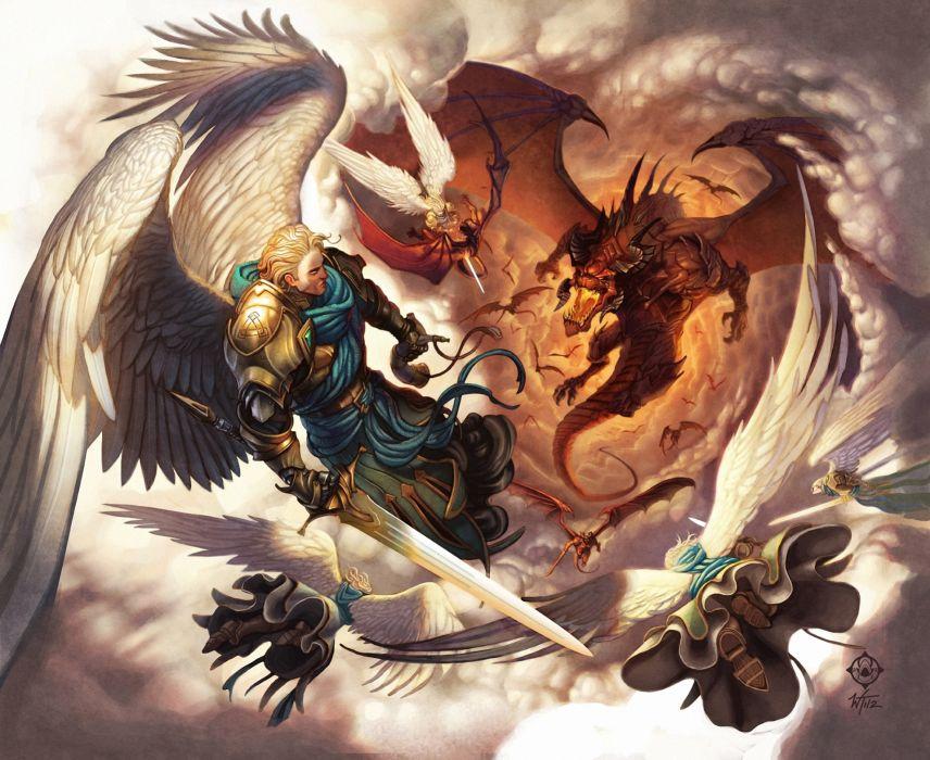War In Heaven battle warrior dragon wallpaper