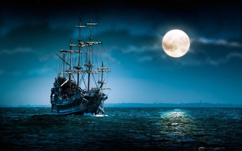 sailboat sea moon ship boat ocean night mood moon wallpaper