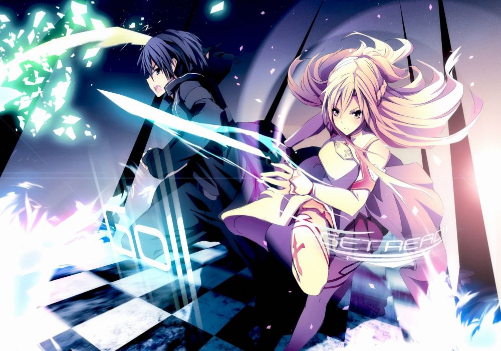 Sword Art Online SAO Kirito Asuna_Mastera sword online Kirito Asuna swords magic wallpaper