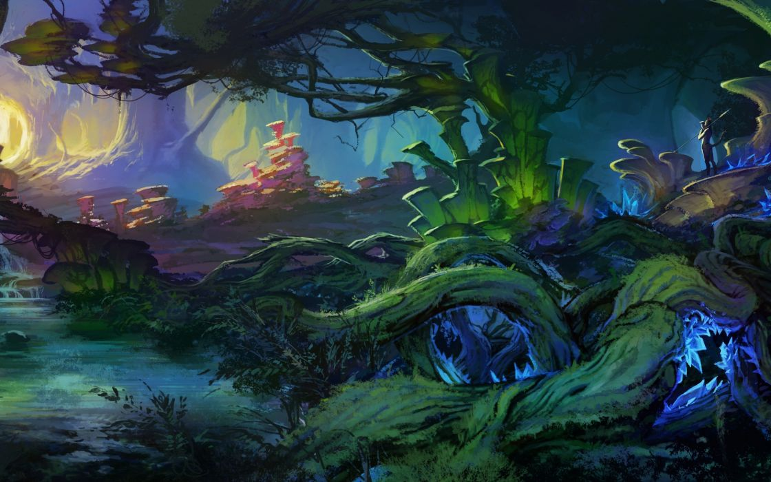 art  landscape  fantasy world  bush  plants  trees  roots  creek forest magical wallpaper