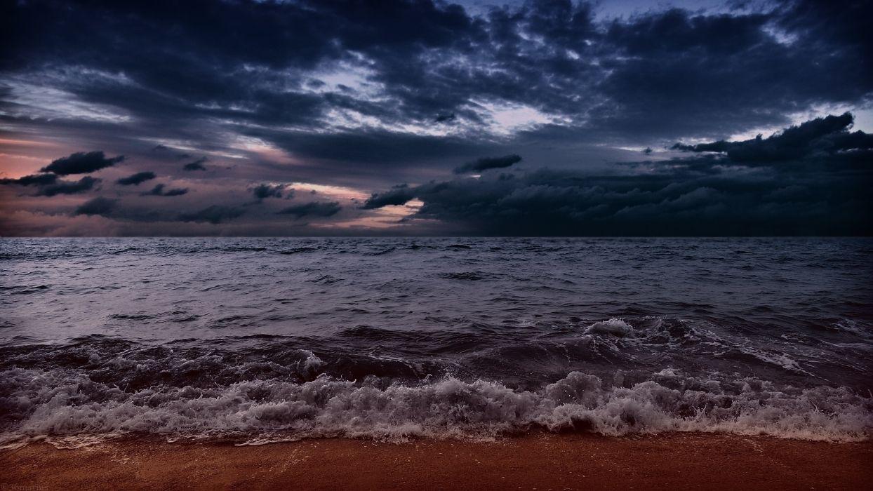 sea aeYaeY waves  beach  sand  clouds  evening wallpaper