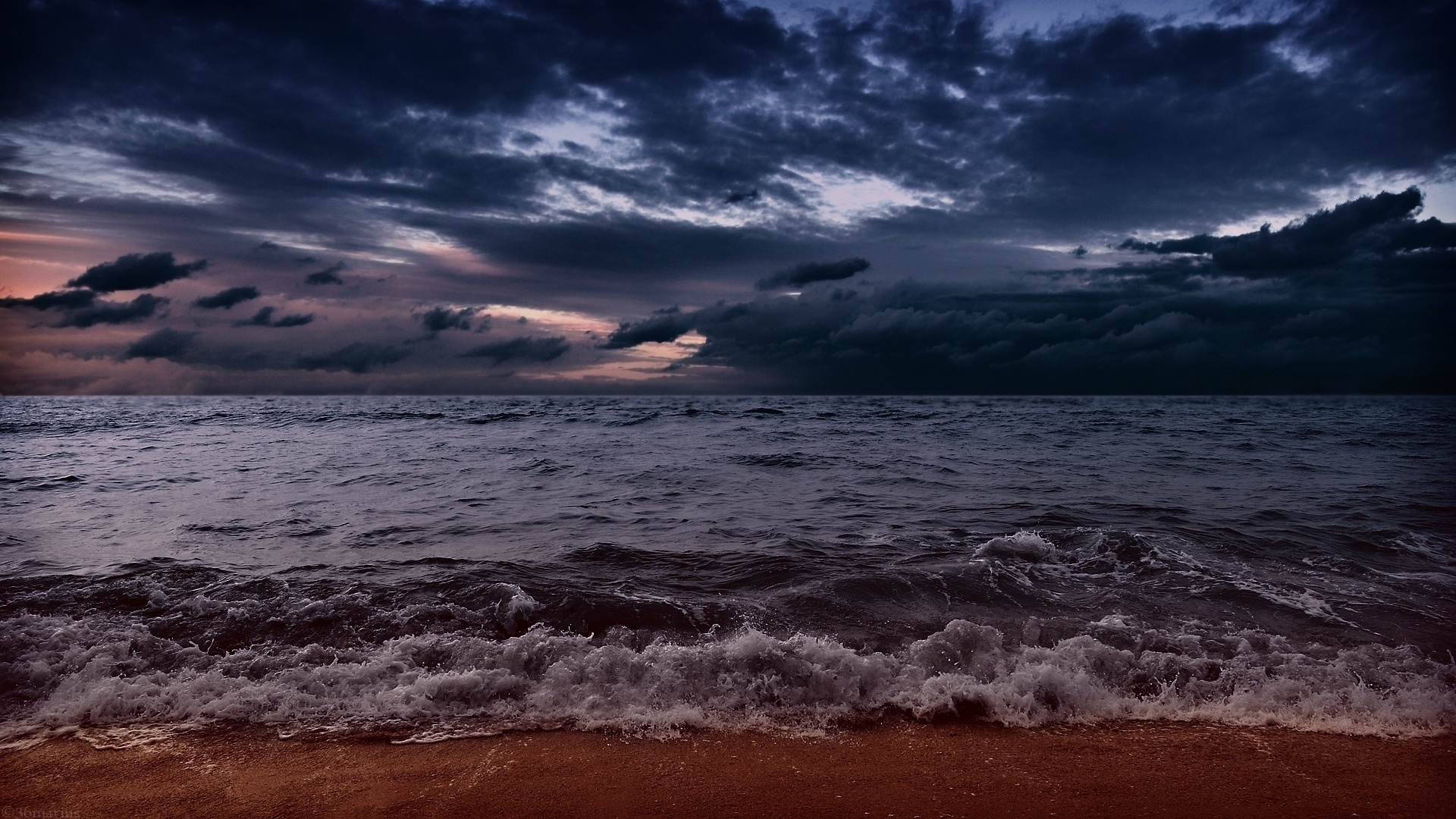 sea aeyaey waves beach sand clouds evening wallpaper | 1920x1080