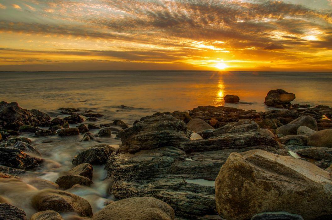 sea aeYaeY rocks  sunset sky clouds beach reflection wallpaper