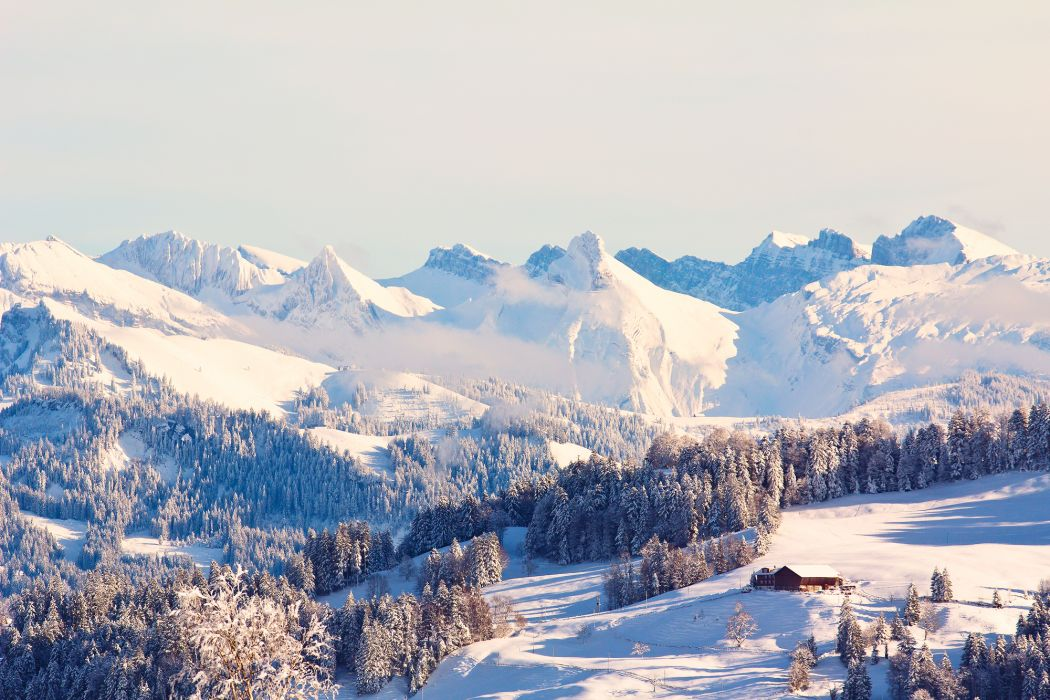winter mountains snow forest house wallpaper