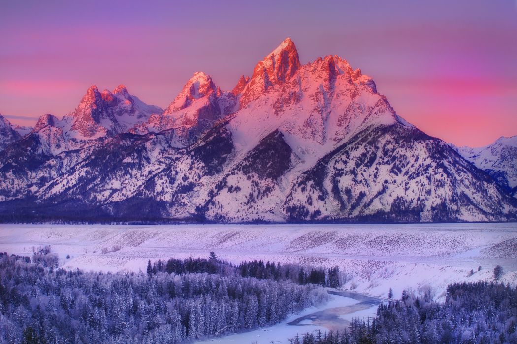 wyoming mountains national park winter snow wallpaper