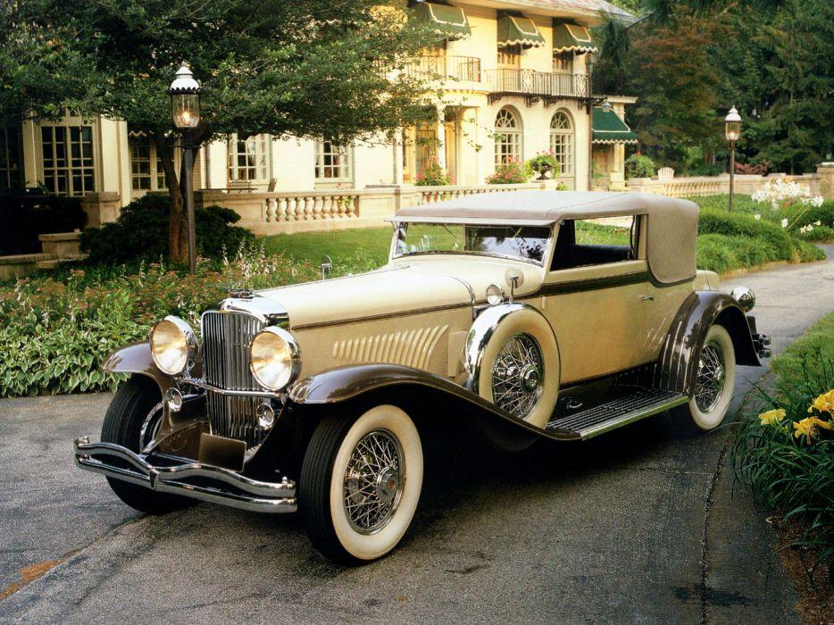 1931 Duesenberg Model-J 441-2460 Convertible Victoria SWB Rollston luxury retro wallpaper