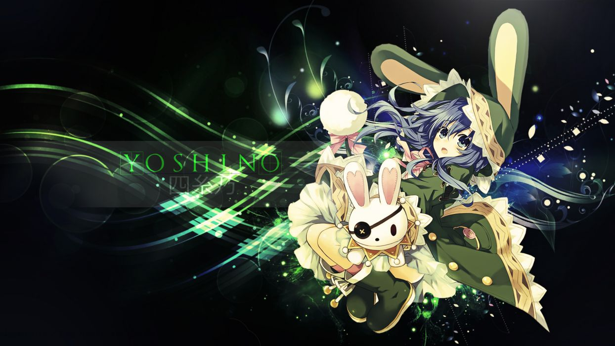 date a live blue eyes blue hair bunny ears date a live long hair puppet yoshino (date a live) wallpaper