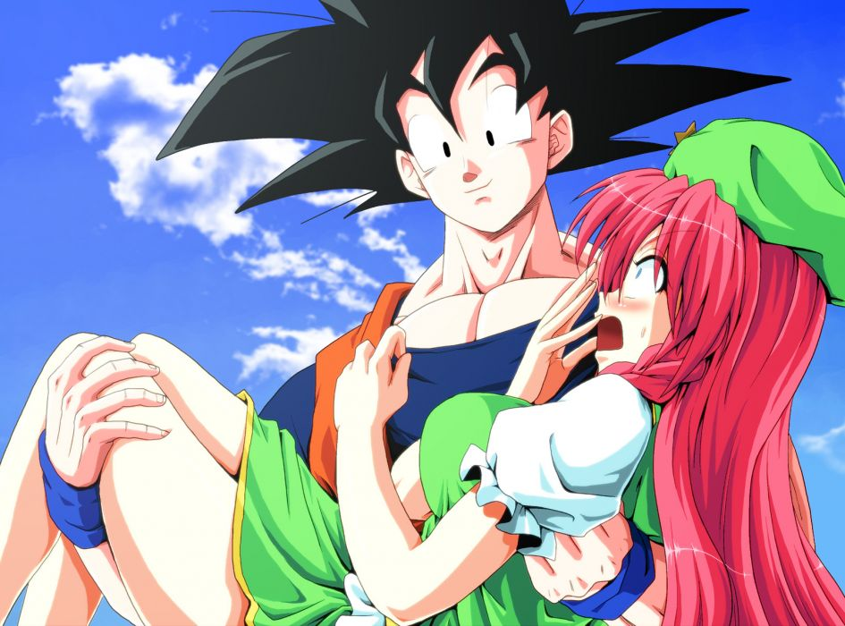 dragonball black hair blue eyes blush braids clouds crossover dragonball hat hong meiling kamishima kanon long hair red hair sky son goku touhou wallpaper