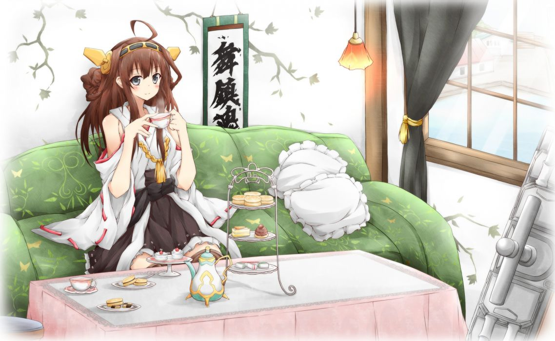 kantai collection black eyes brown hair drink food headband japanese clothes kantai collection karamone-ze kongou (kancolle) long hair miko thighhighs wallpaper