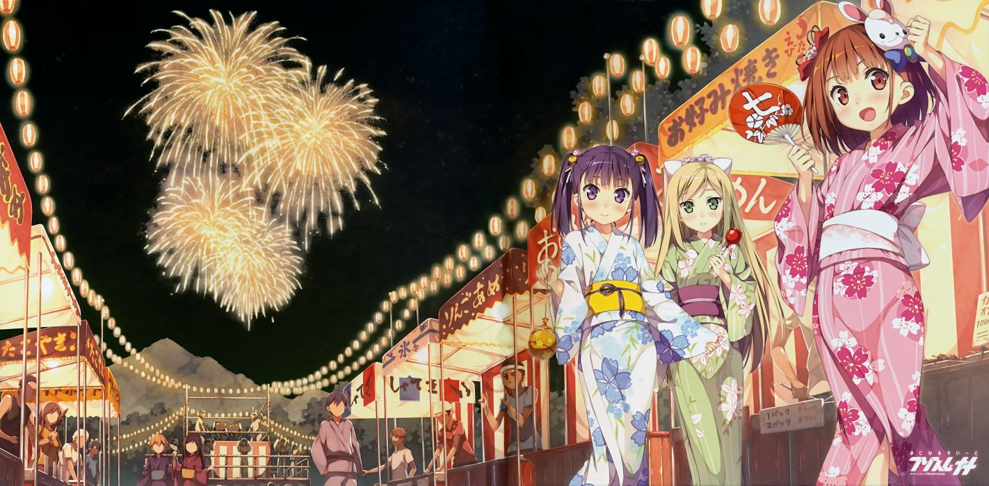 original blush bow brown hair candy fan festival fireworks green eyes kantoku long hair purple eyes purple hair red eyes short hair twintails watermark yukata wallpaper