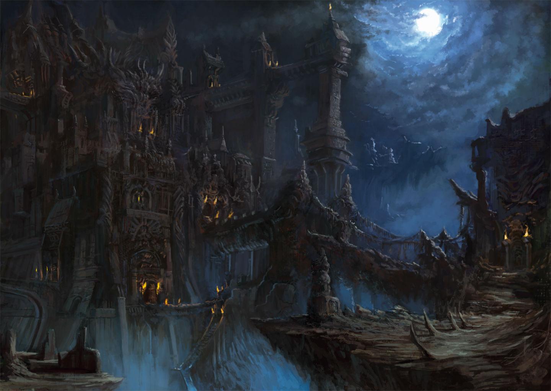 Original Building Dark Matsura Ichirou Moon Night Scenic Wallpaper