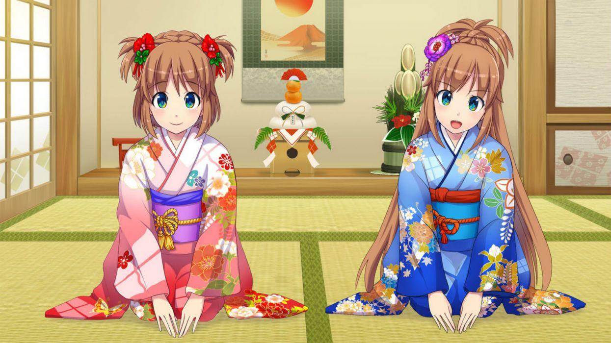 os-tan japanese clothes os-tan ponytail tagme tagme (character) twintails windows windows 8 yu madobe yukata wallpaper