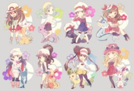 Pokemon Blush Crystal Eevee Espeon Flareon Glaceon Group Hat Jolteon Leafeon Long Hair Ponytail Skirt