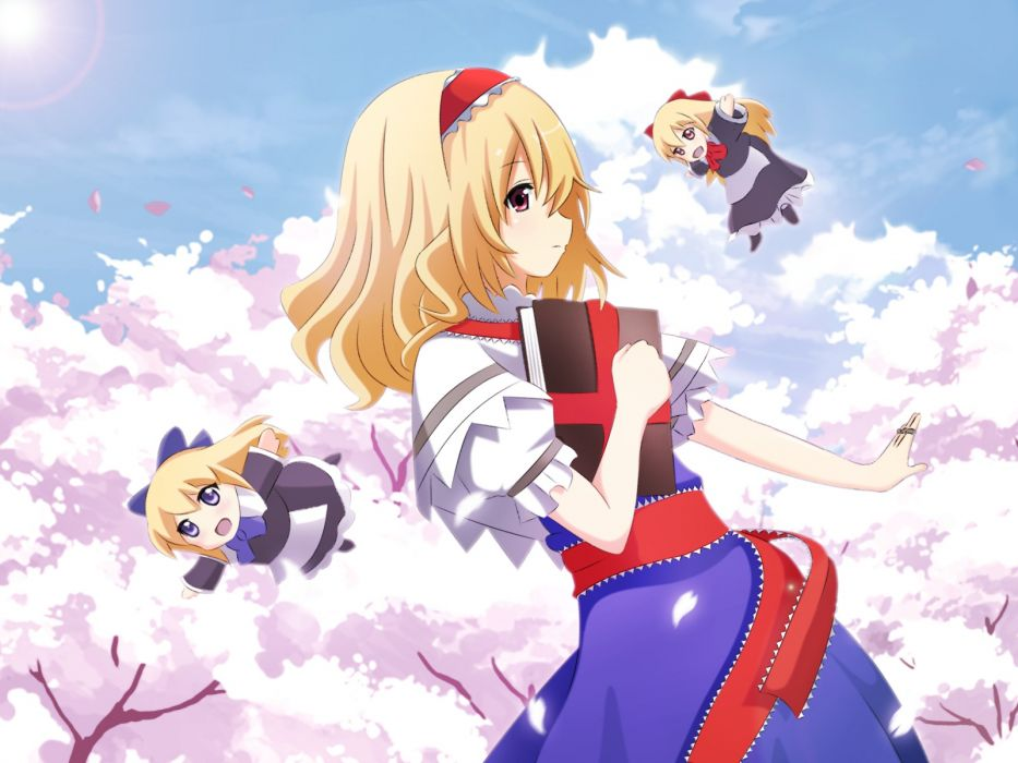 touhou alice margatroid blonde hair blue eyes book brown eyes cherry blossoms chibi clouds headband nugi (armenci) petals red eyes shanghai doll touhou wallpaper