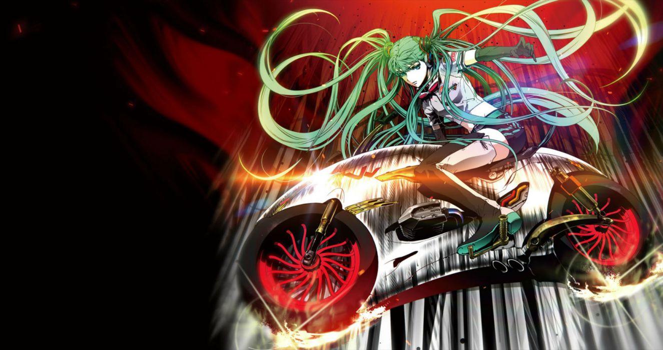 exit tunes gloves green eyes green hair hatsune miku long hair motorcycle nagimiso shorts twintails vocaloid wallpaper