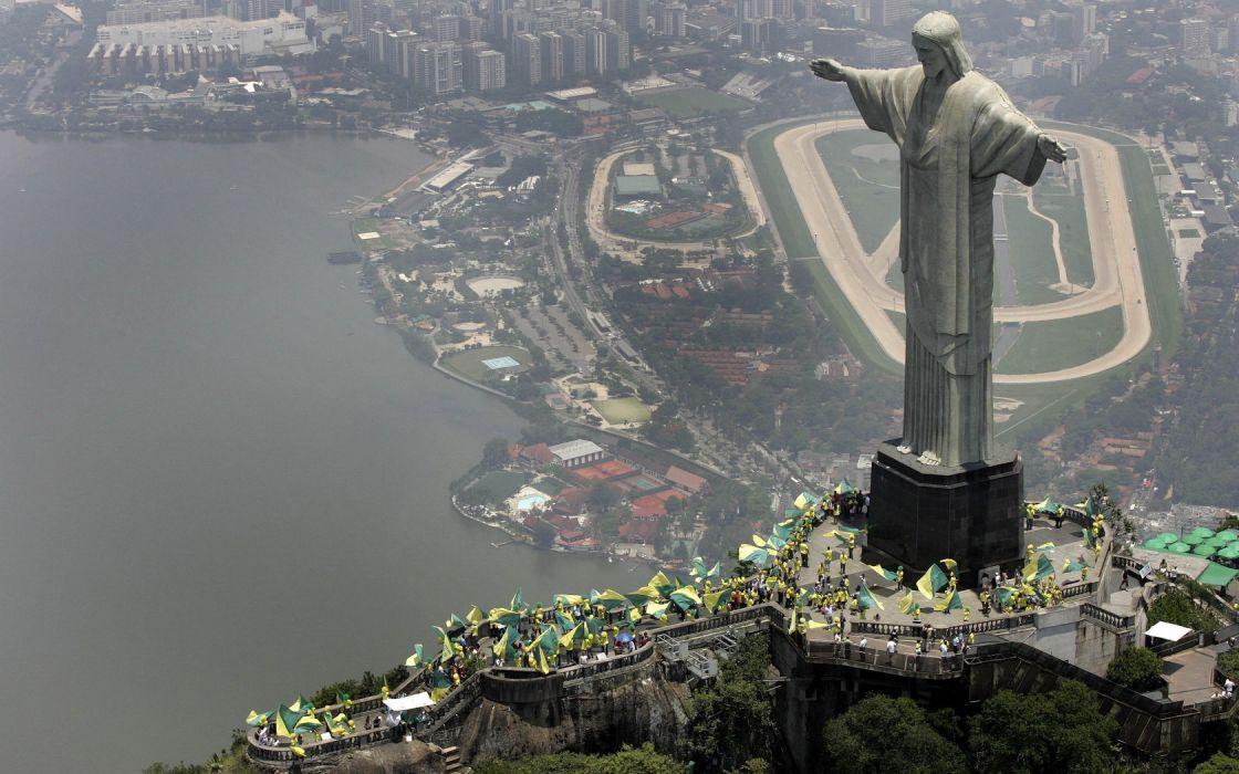 Architecture Cityscapes Brasil Rio de Janeiro Statue Jesus Christ wallpaper