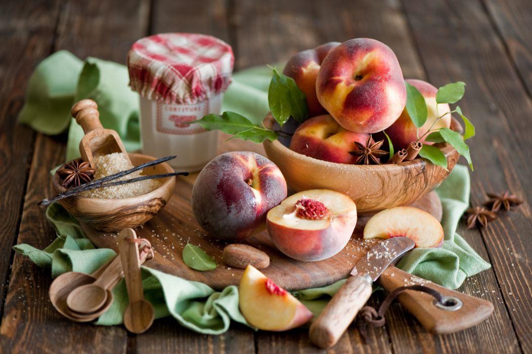 peaches spices sugar board spoons dishes still life wallpaper