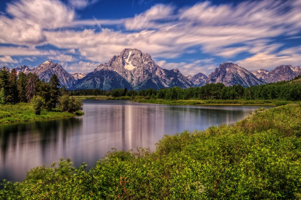 River With Mountain Hd Wallpaper: Wyoming Mountain River Landscape Wallpaper