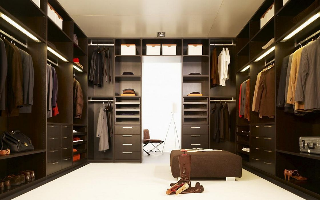 Interior Design Elegant Dark Brown Wardrobe Closet With Two Row Cabinet Wallpaper