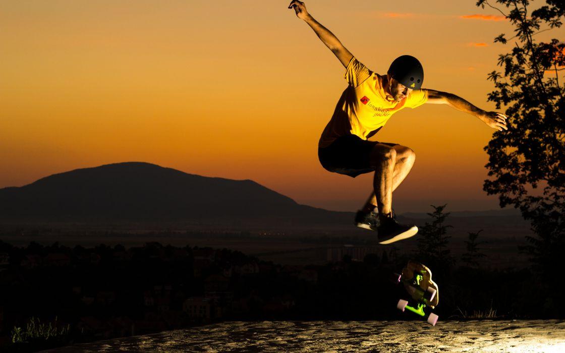 jump sunset skate helmet man skateboard skateboarding wallpaper