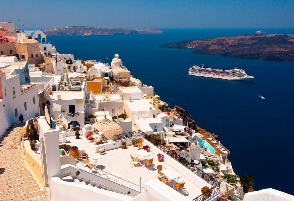 Greece Aegean Sea the ship scenic house home wallpaper