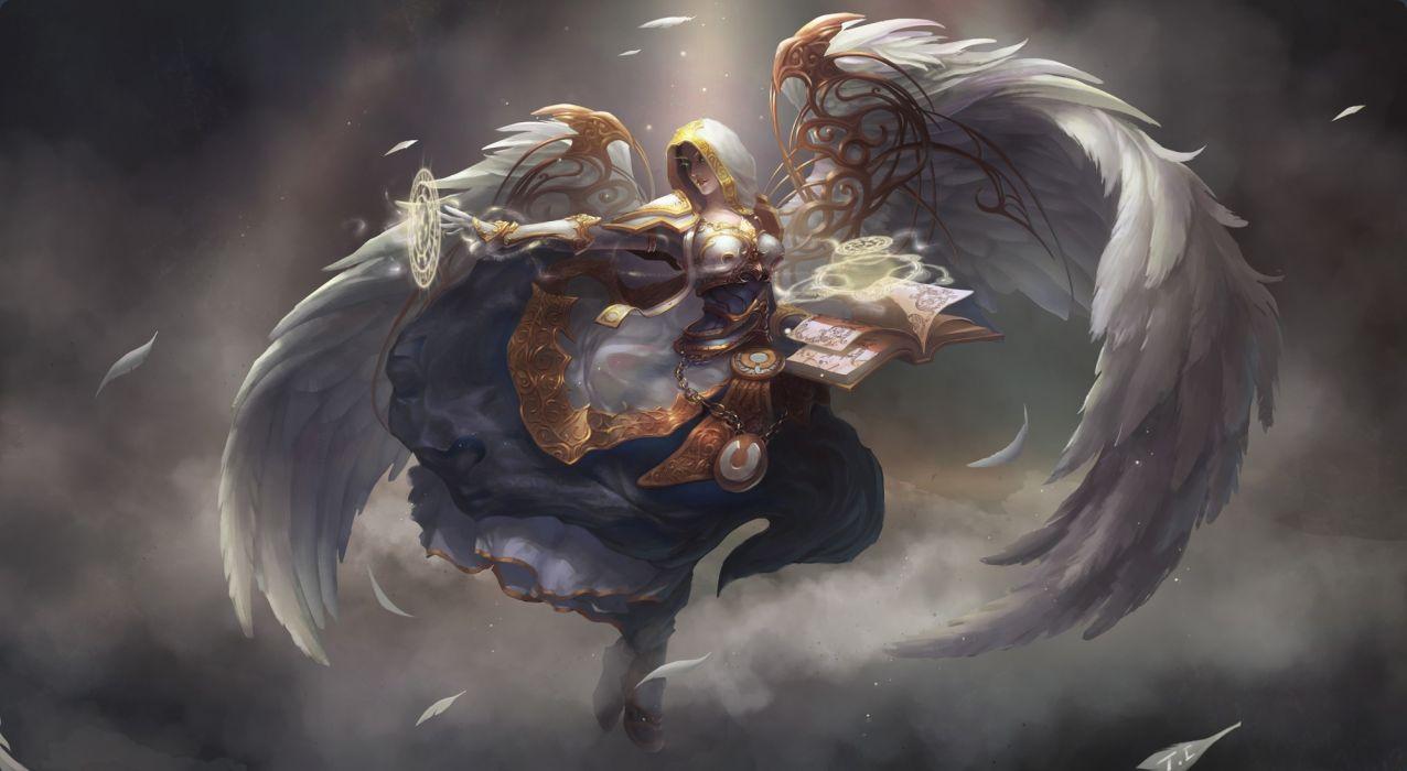 wow world of warcraft Blood Elf elf girl wings magic book hood smoke feathers fantasy angel warrior wallpaper