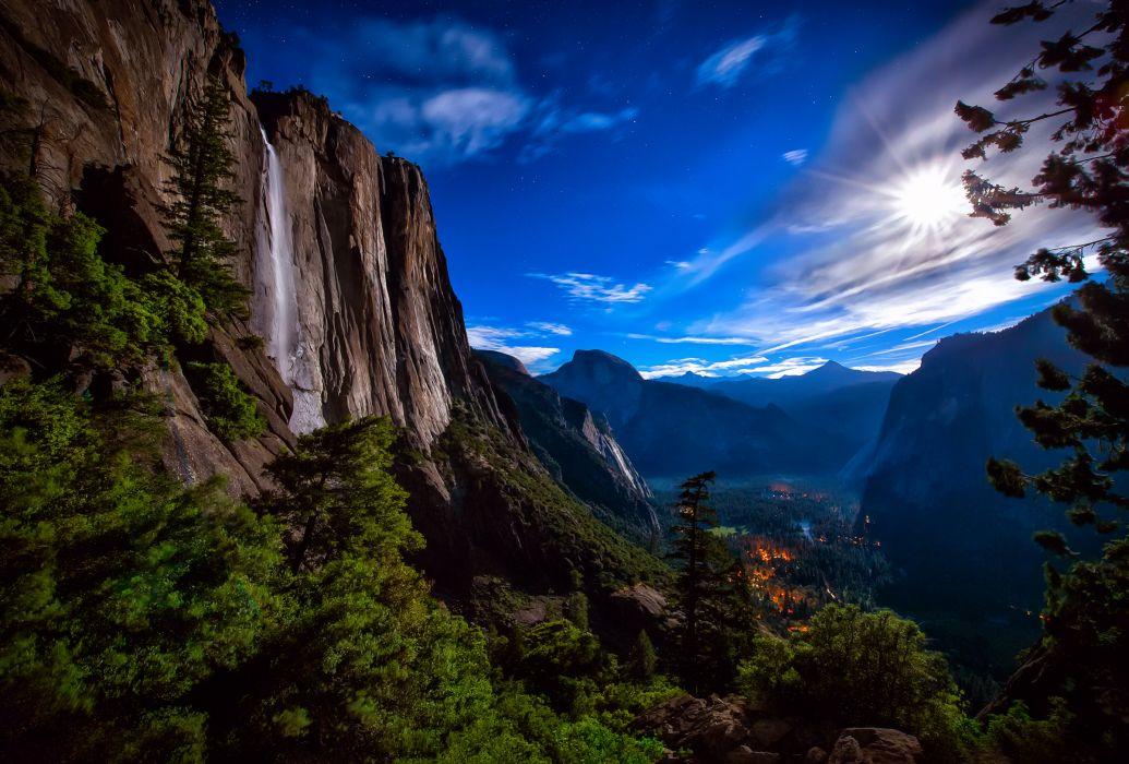 Yosemite National Park waterfall night moon light sky stars mountains rocks forest valley light wallpaper
