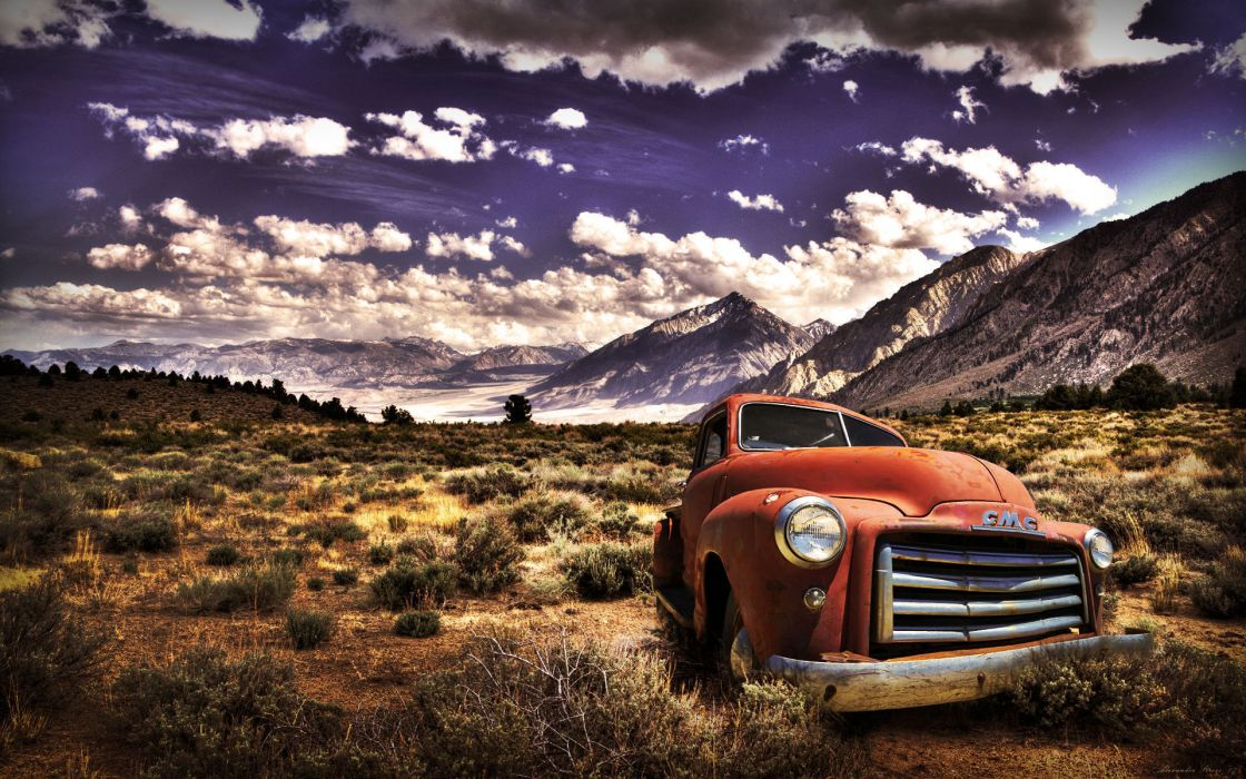 auto mountains golf cars obloka pickup sky clouds retro mood bokeh wallpaper