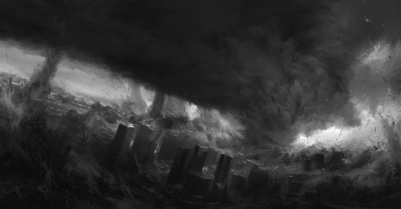tornado Fantasy Cities city apocalyptic dark wallpaper