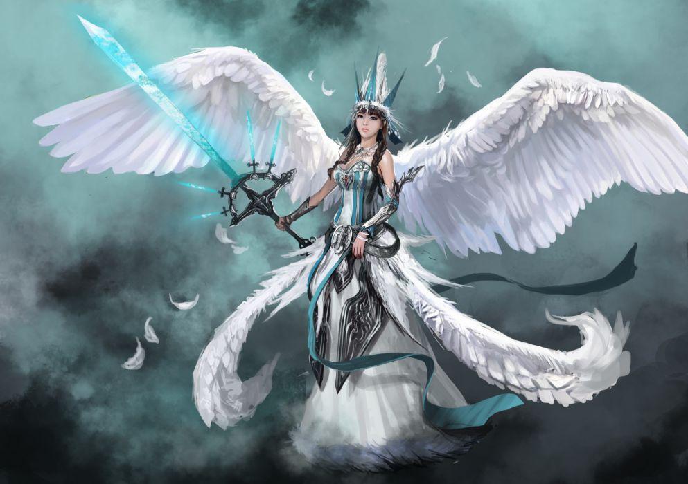 Warrior Fantasy Art Armor Angel Magic Wallpapers Hd: Angel Warrior Wings Sword Armor Fantasy Girls Wallpaper