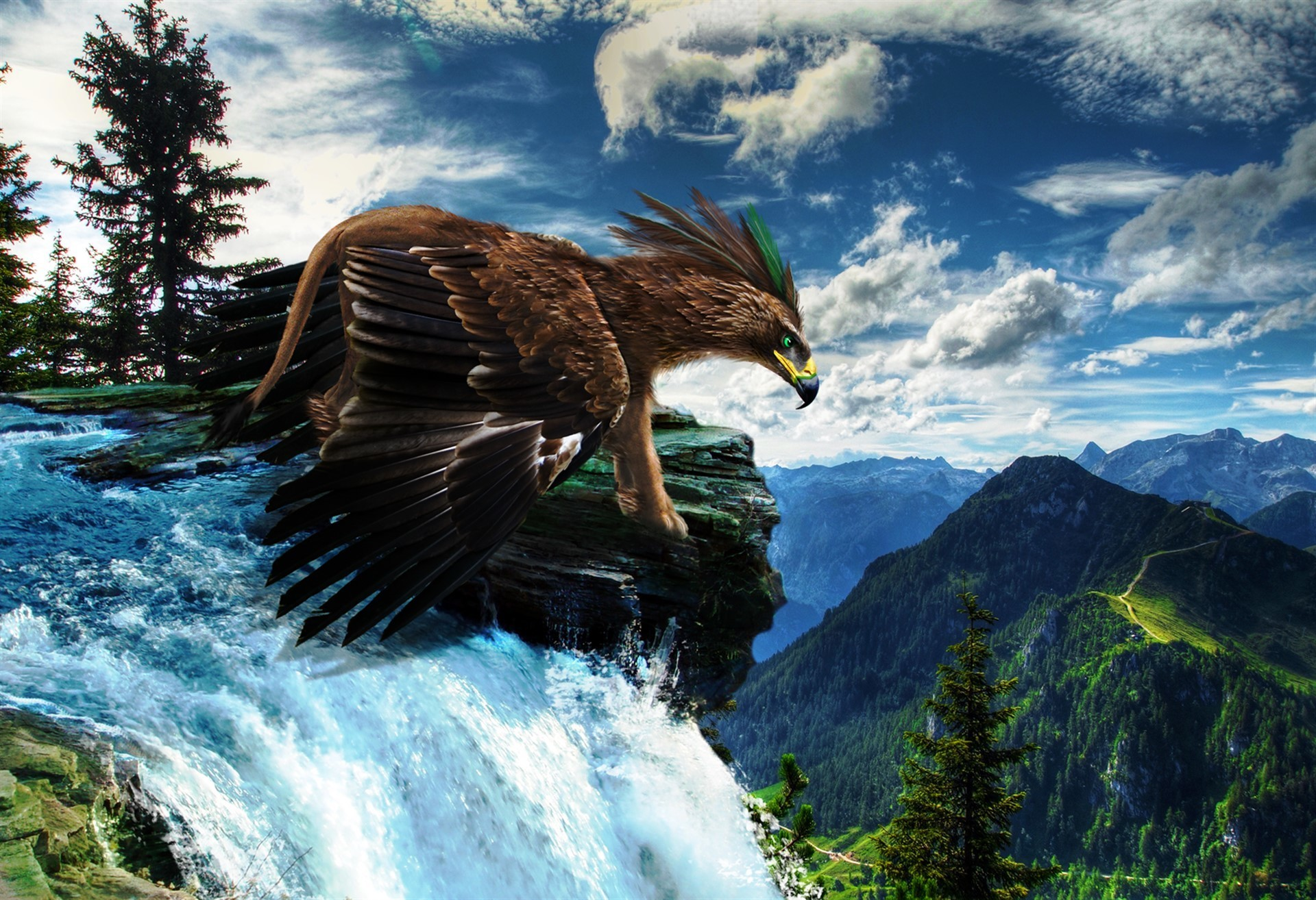 Magical Animals Scenery Waterfall Gryphon Eagle Landscape