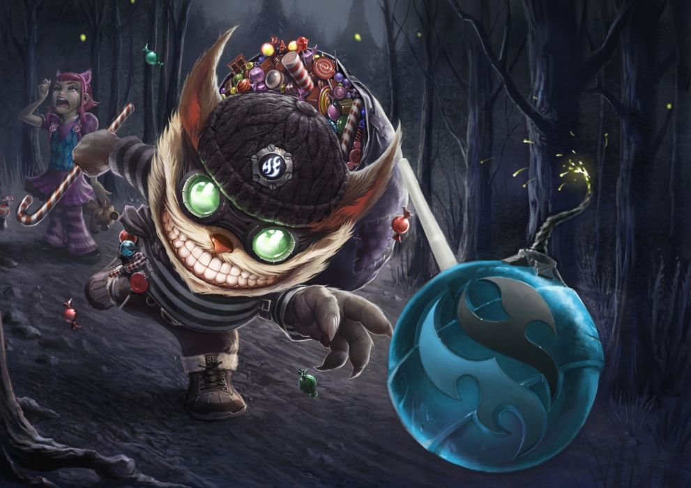 League of Legends Candy Ziggs Smile Winter hat Games Fantasy wallpaper