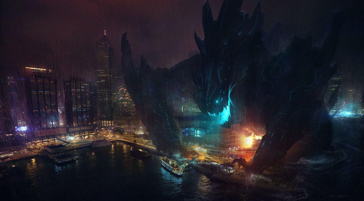 Pacific Rim film Monster Coast Rain Night Movie Cities Fantasy city sci-fi wallpaper
