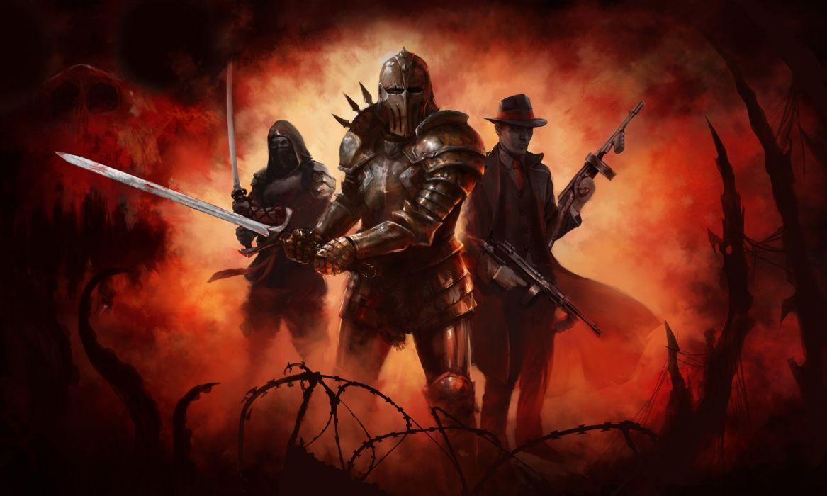 Warrior Knight Armor Weapon Dark Wallpaper
