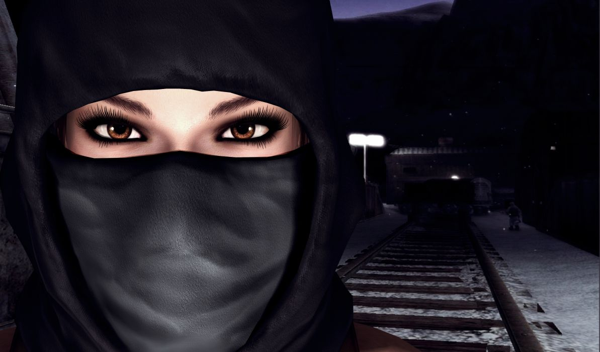 Tomb Raider Mask Railroad Eyes Glance Lara Croft Games Girls 3D Graphics warrior wallpaper