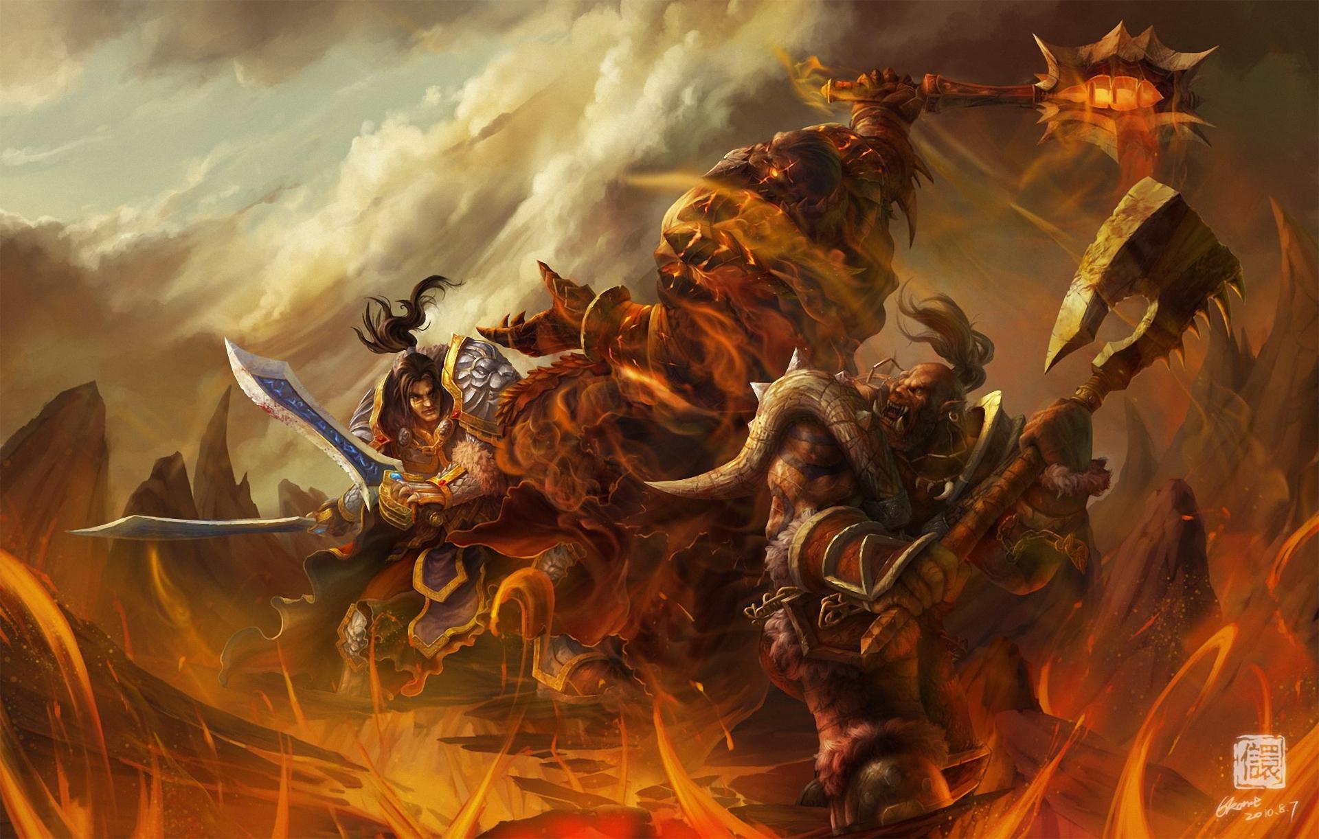 World Of Warcraft Wow Warrior Orc Battle Monster Axe Games