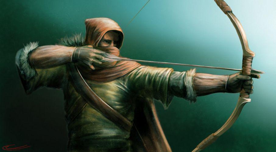 Archer Men Warrior Green Arrow Hood headgear Movies fantasy weapon wallpaper