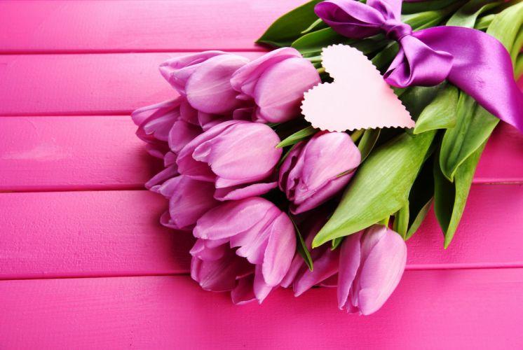 Tulips Bouquet Violet love heart mood bokeh wallpaper